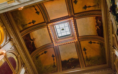 Ohio Statehouse Ceiling with Mural and Stained Glass