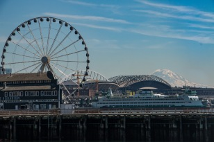 Ferris Wheel, Stadiums, and Mount Rainier