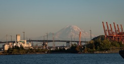 Seattle Docks and Mt. Rainier