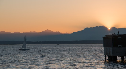 Seattle Sunset and Sailboat
